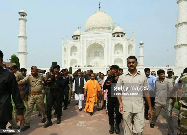 Uttar Pradesh Chief Minister Yogi Adityanath visited Taj Mahal on October 26 2017 in Agra India Over 14000 policemen were deployed across Agra in...
