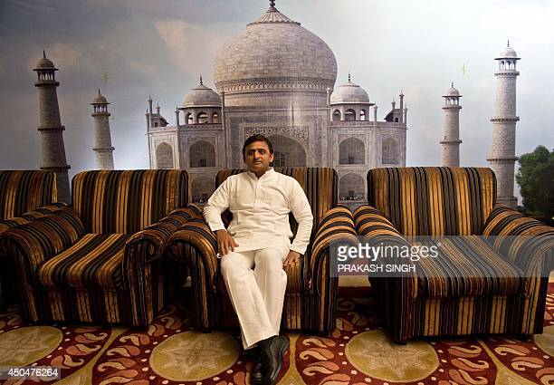 Uttar Pradesh Chief Minster Akhilesh Yadav takes a break during the UP Investor Conclave in New Delhi on June 12 2014 The Uttar Pradesh government...