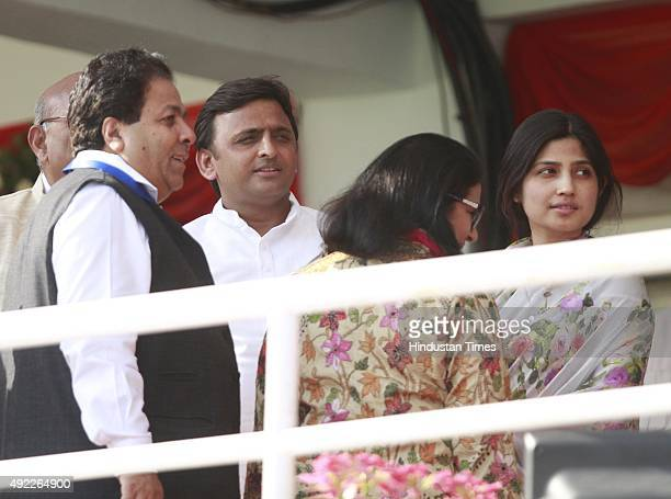 Uttar Pradesh CM Akhilesh Yadav along with his wife Dimpal Yadav during the first One Day International match between India vs South Africa at Green...
