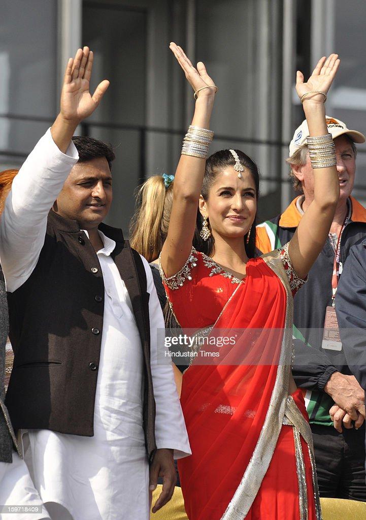 Uttar Pradesh CM Akhilesh Yadav and Bollywood actress Katrina Kaif during the opening ceremony of Hockey India League match at the Major Dhyan Chand Stadium, on January 19, 2013 in Lucknow, India.