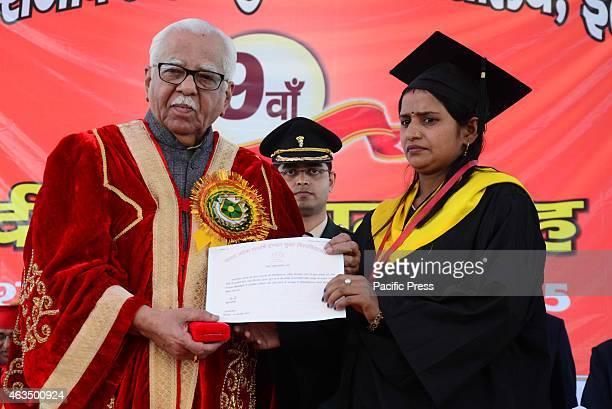 Uttar Pradesh Governor Ram Naik offering degree to gold medlist students during 9th convocation of Uttar Pradesh Rajarshi tondon open university in...
