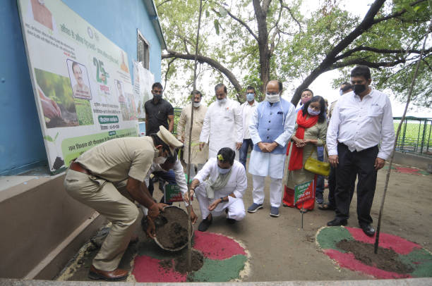IND: Uttar Pradesh Minister Siddharth Nath Singh During A Tree Plantation Drive At Okhla Bird Sanctuary