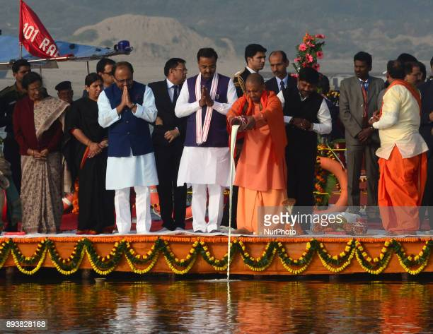 Uttar Pradesh state chief Minister Adityanath Yogi as other state ministers take part in Morning Ganga Aarti at sangam confluence of river Ganges...