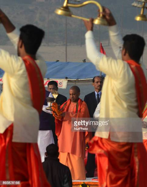 Uttar Pradesh state chief Minister Adityanath Yogi take part in Morning Ganga Aarti at sangam confluence of river Ganges Yamuna and mythical...