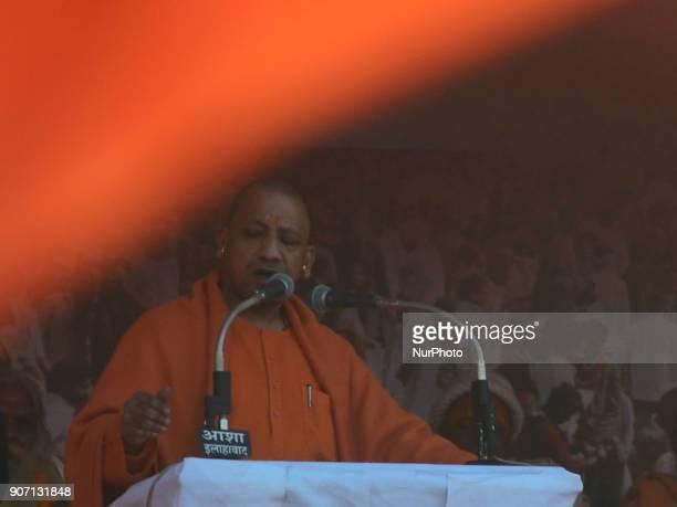 Uttar Pradesh state Chief Minister Yogi AdityaNath speaks during Vishwa Hindu Parishad 's Saint Summit in Magh Mela in Allahabad on January 19 2018