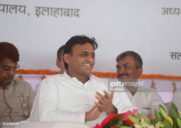 Uttar Pradesh's Chief Minister Akhilesh Yadav attands a public rallyduring an extreme hot day in Allahabad on April 232016 Mr CM inauguarted various...