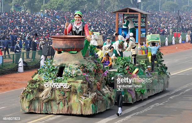 Uttarakhand tableau passing through the saluting base during the full dress rehearsal for Republic Day Parade at Rajpath on January 23 2014 in New...