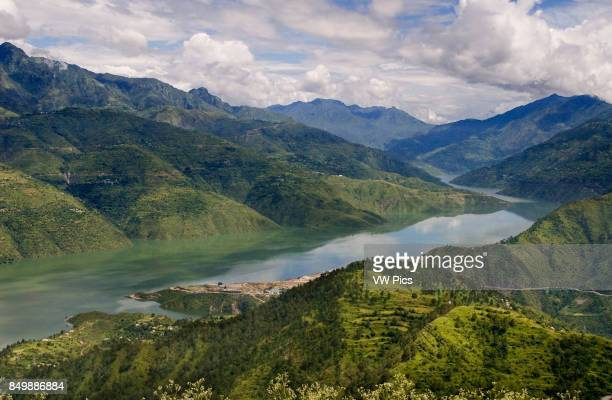 Uttaranchal, India. Green hills green trees green forest green mountain.and river.