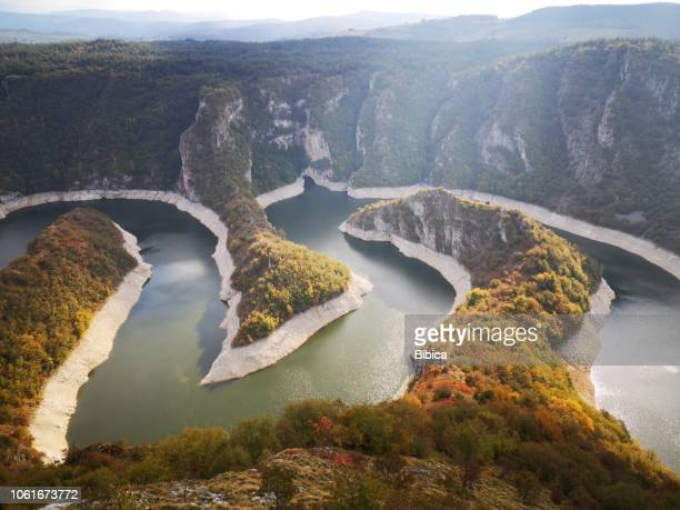 uvac natural canyon in serbia - serbia stock pictures, royalty-free photos & images