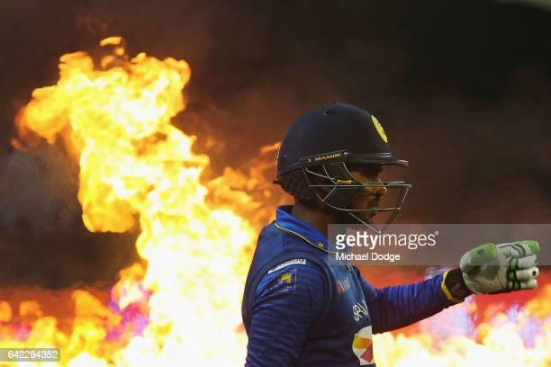 Uvula Tharanga of Sri Lanka walks out to bat during the first International Twenty20 match between Australia and Sri Lanka at Melbourne Cricket...
