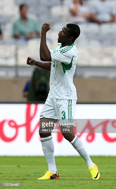 Uwa Elderson Echiejile of Nigeria celebrates scoring the opening goal during the FIFA Confederations Cup Brazil 2013 Group B match between Tahiti and...