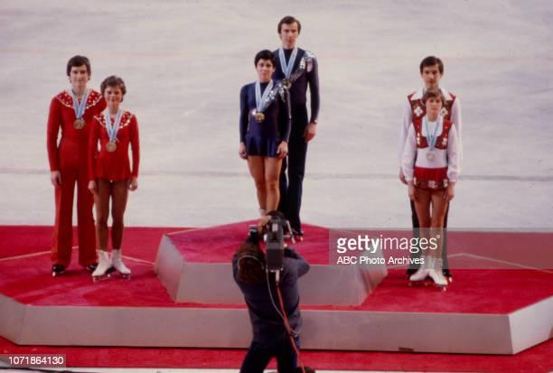Uwe Bewersdorff Manuela Mager Alexander Zaitsev Irina Rodnina Sergei Shakhrai Marina Cherkasova in medal ceremony for the Pairs figure skating event...