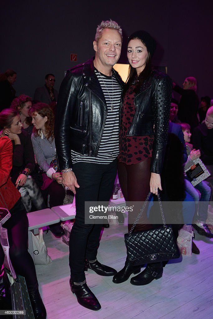 Uwe Fahrenkrog-Petersen and Fee Fahrenkrog-Petersen attend the Ewa Herzog show during Mercedes-Benz Fashion Week Autumn/Winter 2014/15 at Brandenburg Gate on January 17, 2014 in Berlin, Germany.