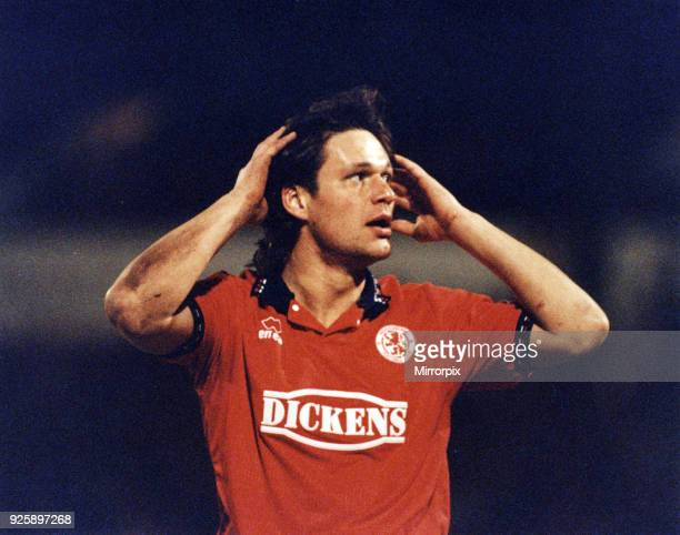 Uwe Fuchs is a German football coach and former football player Seen here playing for Middlesbrough FC against Barnsley Fuchs has just missed a...