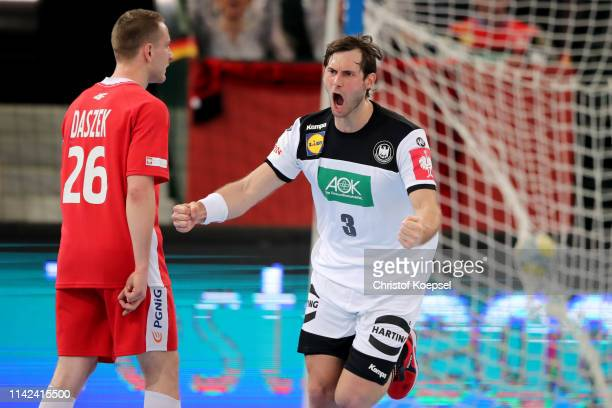 Uwe Gensheimer of Germany celebrates a goal during the 2020 EHF European Championship Qualifier match between Germany and Poland at Gerry Weber...