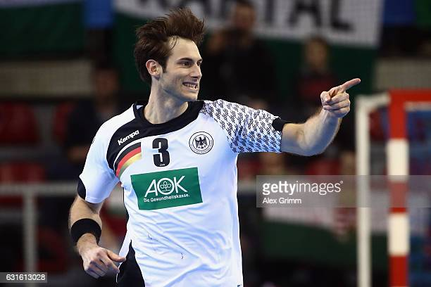 Uwe Gensheimer of Germany celebrates a goal during the 25th IHF Men's World Championship 2017 match between Germany and Hungary at Kindarena on...