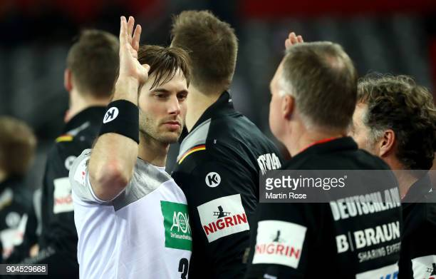 Uwe Gensheimer of Germany celebrates after the Men's Handball European Championship Group C match between Germany and Montenegro at Arena Zagreb on...