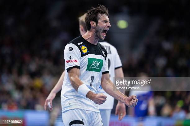 Uwe Gensheimer of Germany celebrates during the international Handball friendly match between Germany and Iceland on January 04 2020 in Mannheim...