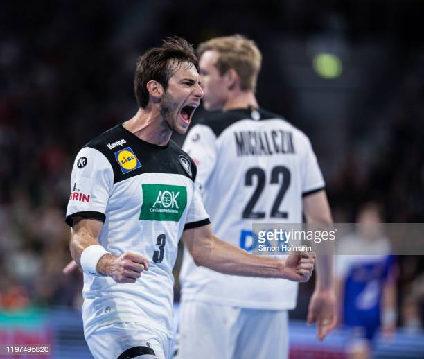 Uwe Gensheimer of Germany celebrates during the international Handball friendly match between Germany and Iceland on January 04, 2020 in Mannheim,...