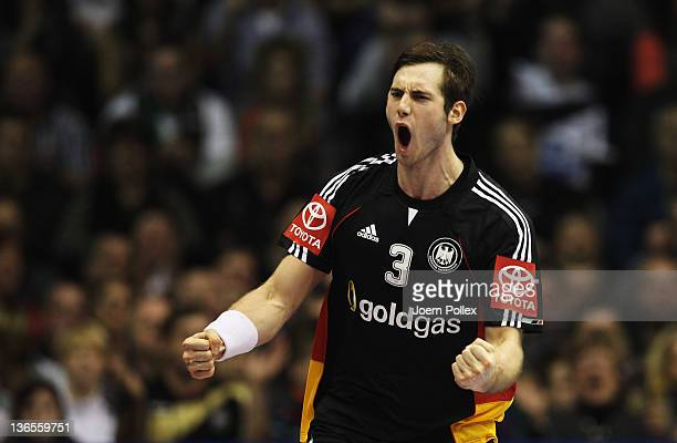 Uwe Gensheimer of Germany celebrates during the International handball friendly match between Germany and Hungary at GetecArena on January 8 2012 in...