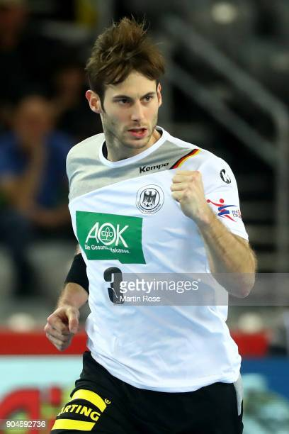Uwe Gensheimer of Germany celebrates during the Men's Handball European Championship Group C match between Germany and Montenegro at Arena Zagreb on...