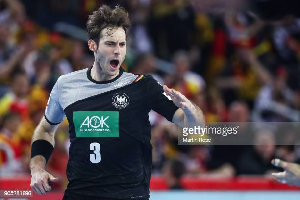 Uwe Gensheimer of Germany celebrates during the Men's Handball European Championship Group C match between Slovenia and Germany at Arena Zagreb on...