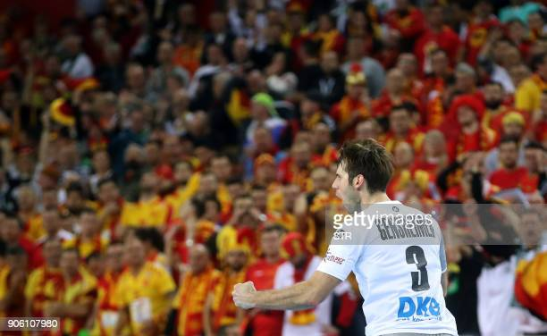 Uwe Gensheimer of Germany celebrates scorring a goal during the preliminary round group C match of the Men's 2018 EHF European Handball Championship...