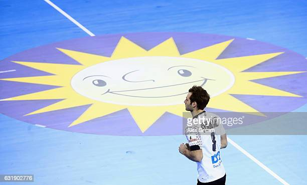 Uwe Gensheimer of Germany enters the field to do a penalty throw during the 25th IHF Men's World Championship 2017 match between Germany and Saudi...