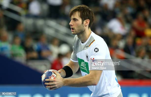 Uwe Gensheimer of Germany in action during the Men's Handball European Championship Group C match between Germany and Montenegro at Arena Zagreb on...