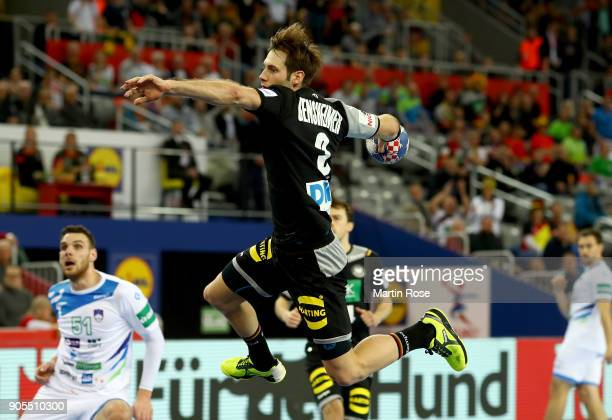 Uwe Gensheimer of Germany in action during the Men's Handball European Championship Group C match between Slovenia and Germany at Arena Zagreb on...