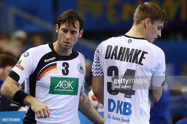 Uwe Gensheimer of Germany is replaced by Rune Dahmke during the 25th IHF Men's World Championship 2017 match between Chile and Germany at Kindarena...