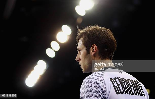 Uwe Gensheimer of Germany looks on during the 25th IHF Men's World Championship 2017 match between Germany and Hungary at Kindarena on January 13...