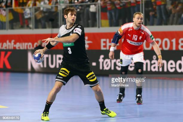 Uwe Gensheimer of Germany prepares for a penalty throw during the Men's Handball European Championship main round group 2 match between Germany and...