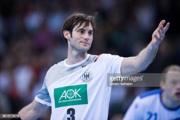Uwe Gensheimer of Germany reacts during the International Handball Friendly match between Germany and Iceland at Porsche Arena on January 5 2018 in...