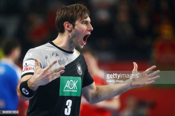 Uwe Gensheimer of Germany reacts during the Men's Handball European Championship main round group 2 match between Germany and Denmark at Varazdin...