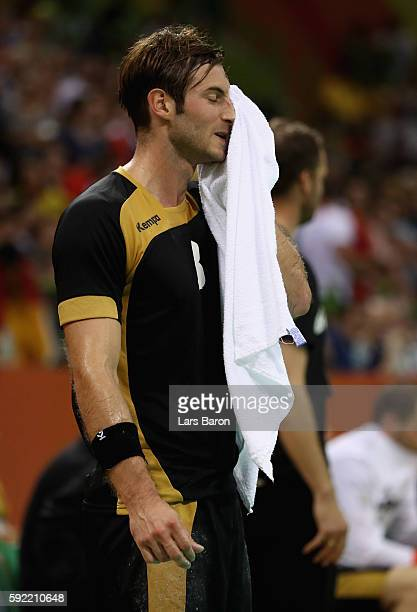 Uwe Gensheimer of Germany reacts during the Men's Handball Semifinal match between France and Germany on Day 14 of the Rio 2016 Olympic Games at...