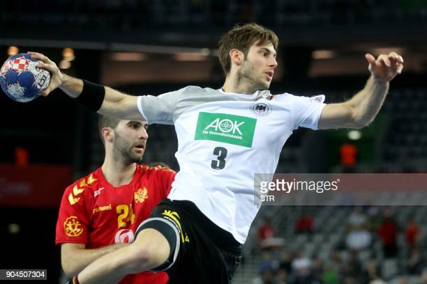 Uwe Gensheimer of Germany shoots on goal during the preliminary round group C match of the Men's 2018 EHF European Handball Championship between...