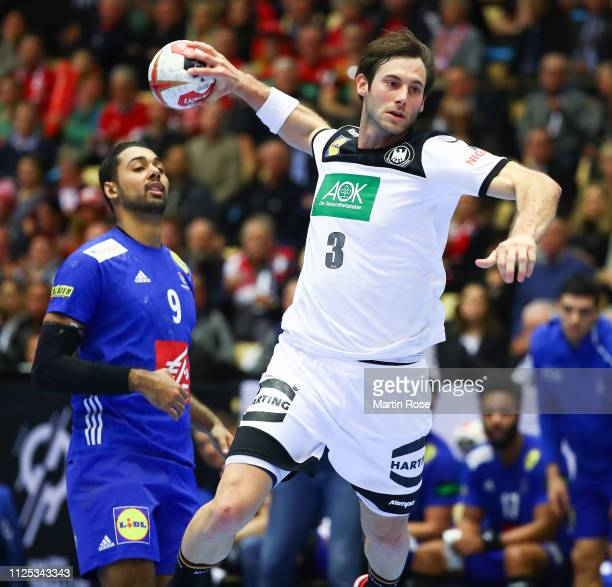 Uwe Gensheimer of Germany throws a goal during the 26th IHF Men's World Championship 3rd place match between Germany and France at Jyske Bank Boxen...