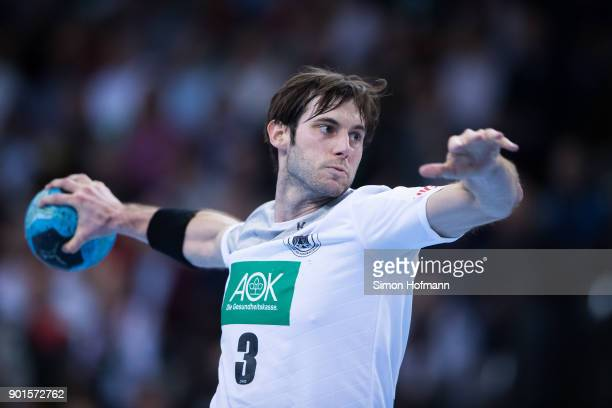 Uwe Gensheimer of Germany tries to score during the International Handball Friendly match between Germany and Iceland at Porsche Arena on January 5...
