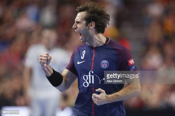 Uwe Gensheimer of Paris celebrates a goal during the EHF Champions League Final 4 third place match between Paris Saint Germain and HC Vardar at...