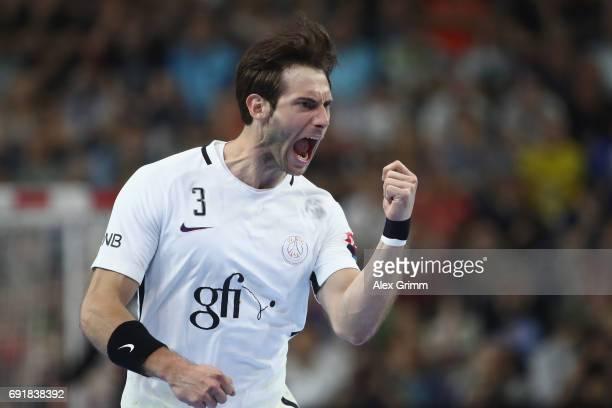 Uwe Gensheimer of Paris celebrates a goal during the VELUX EHF FINAL4 Semi Final between Telekom Veszprem and Paris SaintGermain Handball at Lanxess...