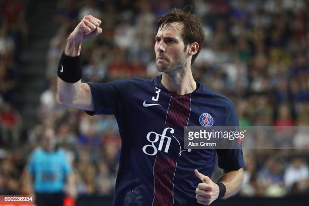 Uwe Gensheimer of Paris celebrates a goal during the VELUX EHF FINAL4 final between Paris SaintGermain Handball and HC Vardar at Lanxess Arena on...
