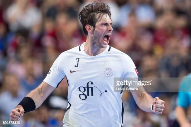 Uwe Gensheimer of Paris celebrates his goal during the VELUX EHF FINAL4 Semi Final match between Telekom Veszprem and Paris SaintGermain Handball at...