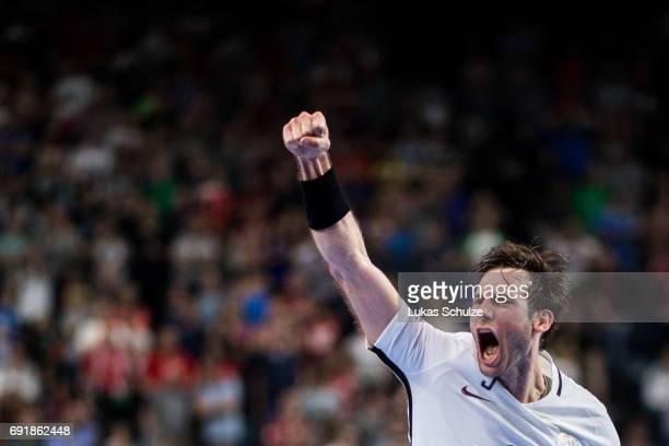 Uwe Gensheimer of Paris celebrates the win after the VELUX EHF FINAL4 Semi Final match between Telekom Veszprem and Paris SaintGermain Handball at...