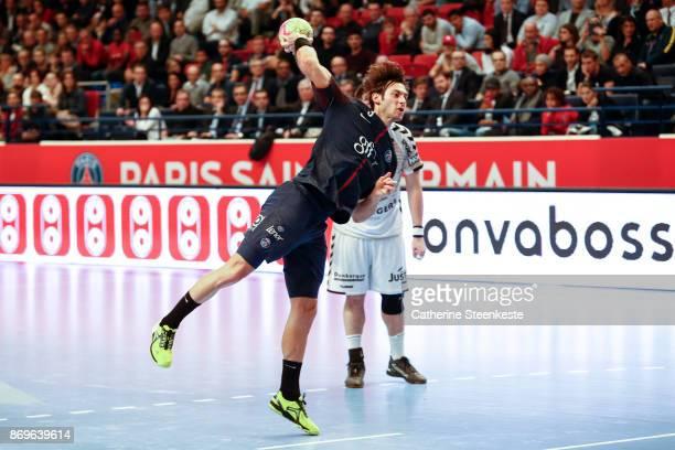 Uwe Gensheimer of Paris Saint Germain is shooting a penalty during the Lidl Star Ligue match between Paris Saint Germain and Dunkerque at Salle...