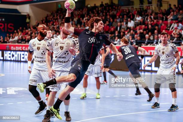 Uwe Gensheimer of Paris Saint Germain is shooting the ball during the Lidl Star Ligue match between Paris Saint Germain and Dunkerque at Salle Pierre...