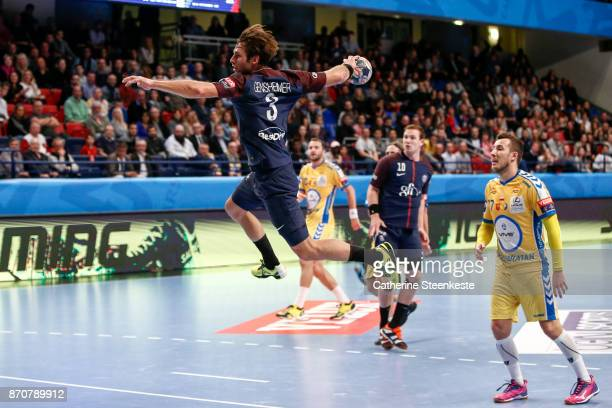 Uwe Gensheimer of Paris Saint Germain is shooting the ball during the Champions League match between Paris Saint Germain and PGE Vive Kielce at Stade...