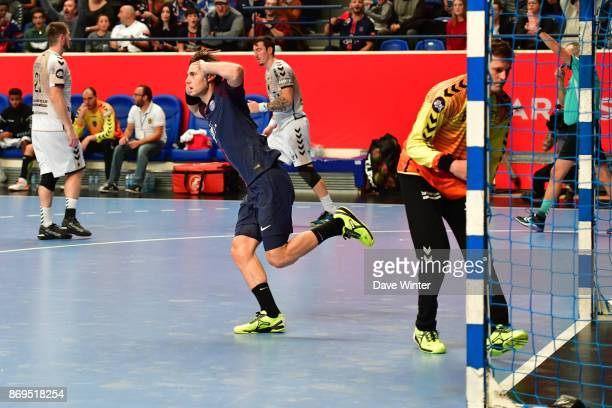 Uwe Gensheimer of PSG celebrates a goal during the Lidl Star Ligue match between Paris Saint Germain and Dunkerque at Salle Pierre Coubertin on...