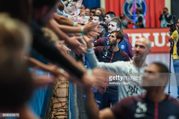 Uwe Gensheimer of PSG celebrates during the EHB Champions League match between Paris Saint Germain and Celje on October 8 2017 in Paris France