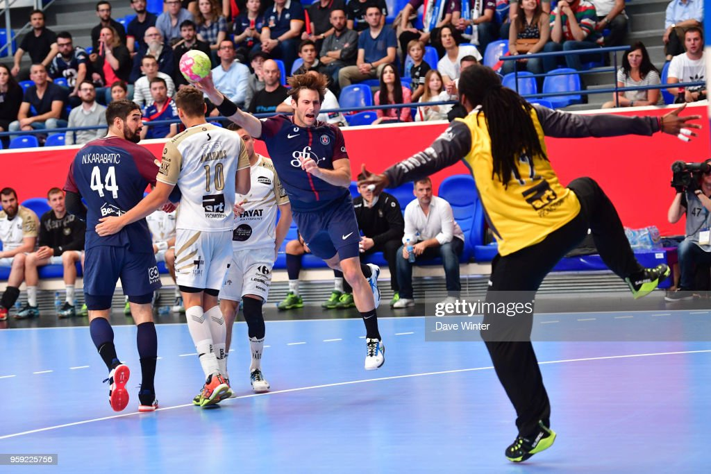Uwe Gensheimer of PSG during the Lidl StarLigue match between Paris Saint Germain and Aix at Salle Pierre Coubertin on May 16, 2018 in Paris, France.